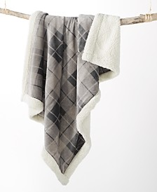 Martha Stewart Collection Plaid Reversible Sherpa Throw, Created for Macy's
