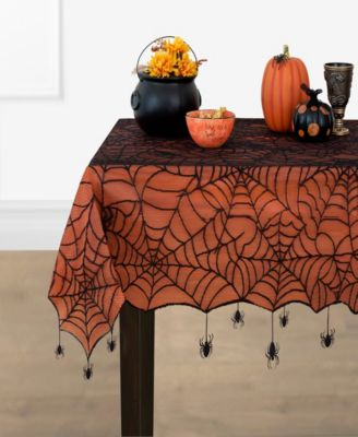 """Crawling Halloween Spider Lace Lined Tablecloth - 70"""""""