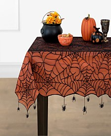 """Elrene Crawling Halloween Spider Lace Lined Tablecloth - 70"""""""