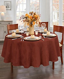 "Elegant Woven Leaves Jacquard Damask Tablecloth, 70"" Round"