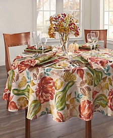 """Elrene Gourd Gathering Fall Printed Tablecloth, 70"""" Round"""