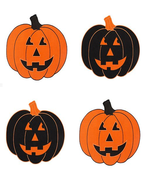 Elrene Farmhouse Living Jack-o-Lantern Pumpkin Placemats, Set of 4
