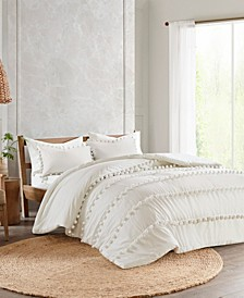 Leona 3-Pc. Pom Pom Cotton Duvet Cover Sets