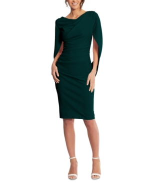 Betsy & Adam Drape Back Cocktail Dress In Forest