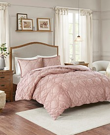 Madison Park Theresa 3-Pc. Ruched Rosette 2-in-1 Duvet Cover Sets