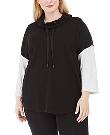 Plus Size Cowlneck Colorblocked Top