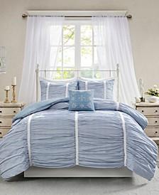 CLOSEOUT! Ana King/California King 4-Pc. Ruched Cotton Duvet Cover Set
