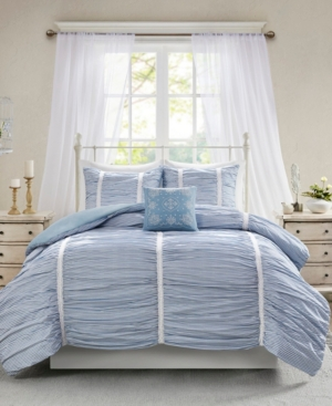 Closeout! Madison Park Ana King/California King 4-Pc. Ruched Cotton Duvet Cover Set Bedding