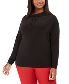 Anne Klein Plus Size Funnel-Neck Pullover Top