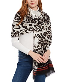 INC Animal-Print Wrap with Border Stripes, Created for Macy's