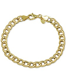 Open Curb Link Bracelet in Gold-Plate Over Sterling Silver