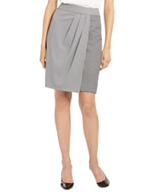 Calvin Klein Petite Houndstooth Pleated Skirt
