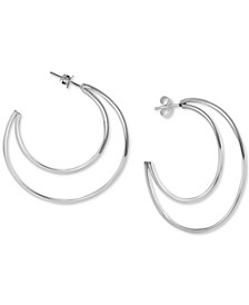 Open Crescent Hoop Earrings in Sterling Silver