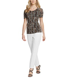 DKNY Printed Ruched-Sleeve Top