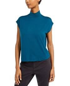 Eileen Fisher Mock-Neck Cap-Sleeve Top