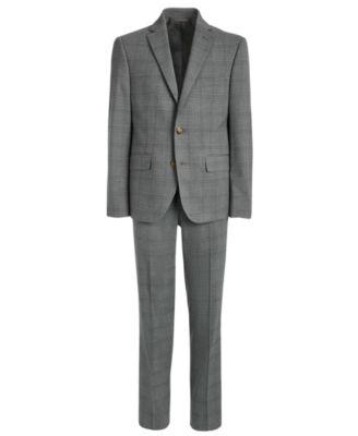 Big Boys Classic-Fit Stretch Light Gray Plaid Suit Pants