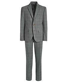 Big Boys Classic-Fit Stretch Light Gray Plaid Suit Separates
