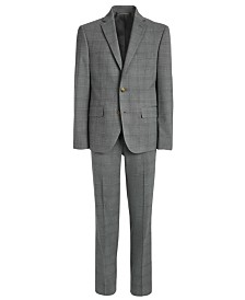 Lauren Ralph Lauren Big Boys Classic-Fit Stretch Light Gray Plaid Suit Separates