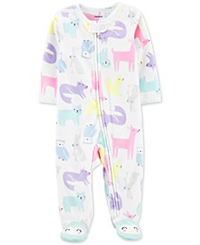 Baby Girls Woodland Creatures-Print Fleece Footed Coverall