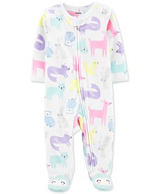 Carter's Baby Girls Woodland Creatures-Print Fleece Footed Coverall