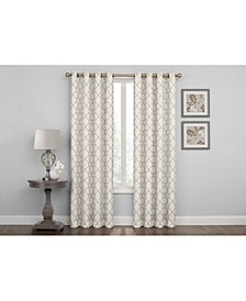 "Embroidered Lattice Room Darkening Grommet Curtain, 108"" x 50"""