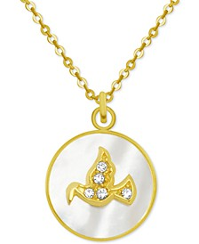 "Gold-Tone Crystal Dove Mother-of-Pearl 18"" Pendant Necklace"
