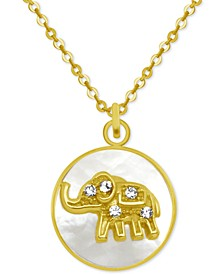 """Gold-Tone Crystal Elephant Mother-of-Pearl 18"""" Pendant Necklace"""