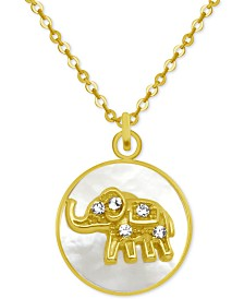 """PIXIE POSEY Gold-Tone Crystal Elephant Mother-of-Pearl 18"""" Pendant Necklace"""