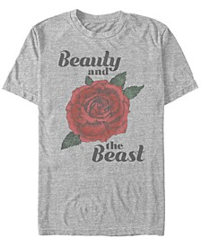 Disney Men's Beauty and The Beast Rose Short Sleeve T-Shirt