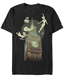 Disney Men's Peter Pan The Darlings Flying By Clock Tower Short Sleeve T-Shirt