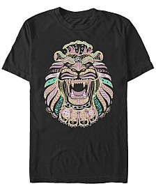 Disney Men's Aladdin Live Action Geometric Line Art Lion Cave Short Sleeve T-Shirt