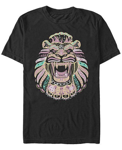 Aladdin Disney Men's Live Action Geometric Line Art Lion Cave Short Sleeve T-Shirt