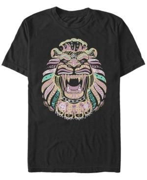 Live Action Geometric Line Art Lion Cave Short Sleeve T-Shirt