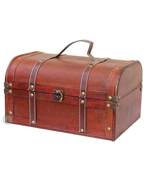 Vintiquewise Decorative Wood Treasure Box - Wooden Trunk Chest