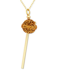 Simone I. Smith 18K Gold over Sterling Silver Necklace, Yellow Crystal Mini Lollipop Pendant