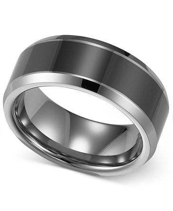 Image 1 Of Triton Men S Tungsten Carbide And Ceramic Ring 8mm Wedding Band