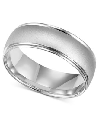 mens 10k white gold ring 6 12mm wedding band rings jewelry watches macys - Mens White Gold Wedding Ring