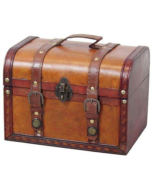 Vintiquewise Decorative Wood Leather Treasure Box - Large Trunk