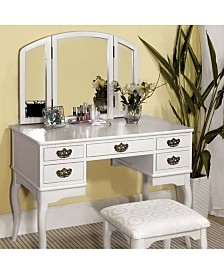 Benzara Vanity Table with Multiple Drawers and A Stool