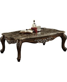 Benzara Wooden Coffee Table with Marble Top