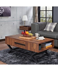 Benzara Contemporary Wooden Coffee Table with Storage Drawers