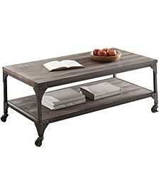 Industrial Style Wood and Metal Coffee Table with Open Shelf