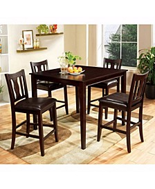Wooden Counter Table Set with Padded Seat