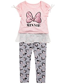 Little Girls 2-Pc. Minnie Mouse Chiffon-Trim Top & Leggings Set