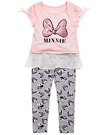 Disney Little Girls 2-Pc. Minnie Mouse Chiffon-Trim Top & Leggings Set