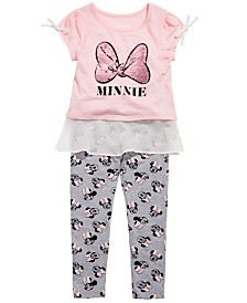 Disney Little Girls 2-Pc. Minnie Mouse Chiffon-Trim Top & Leggings Set