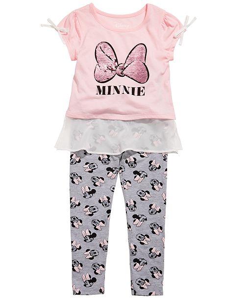 Disney Toddler Girls 2-Pc. Minnie Mouse Chiffon-Trim Top & Leggings Set