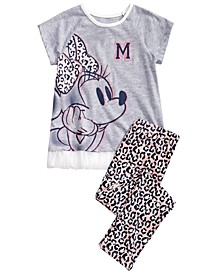 Little Girls 2-Pc. Glitter Minnie Mouse Top & Animal-Print Leggings Set