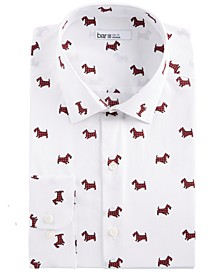 Men's Slim-Fit Stretch Scottie Print Dress Shirt, Created for Macy's