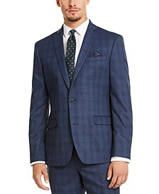Men's Slim-Fit Stretch Blue Plaid Suit Jacket, Created for Macy's